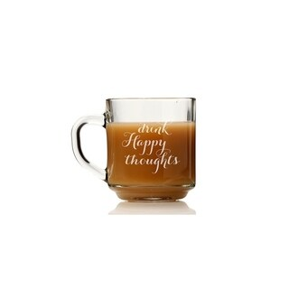 Drink Happy Thoughts Glass Coffee Mug (Set of 4)