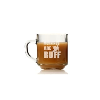 Mornings are Ruff Glass Coffee Mug (Set of 4)