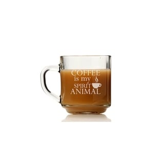 Coffee Is My Spirit Animal Glass Coffee Mug (Set of 4)