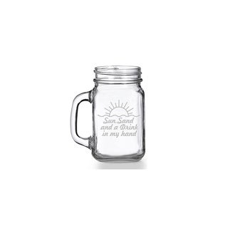 Sun Sand And A Drink In My Hand Mason Jar Mug (Set of 4)