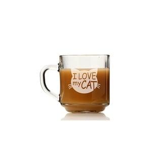 I Love My Cat Glass Coffee Mug (Set of 4)