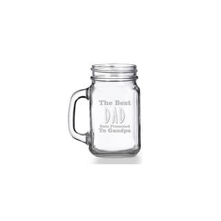 The Best Dad Gets Promoted To Grandpa Mason Jar Mug (Set of 4)