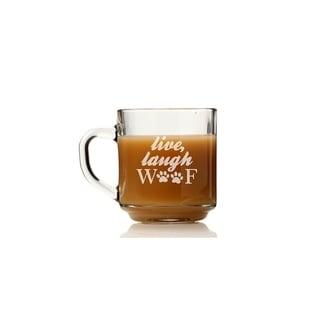 Live Laugh Woof Glass Coffee Mug (Set of 4)