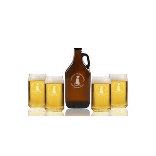 My Dog Is Not Disobedient Just Spontaneous Beer Amber Growler and Can Glasses (Set of 5)