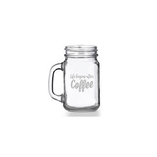 Life Begins After Coffee Mason Jar Mug (Set of 4)