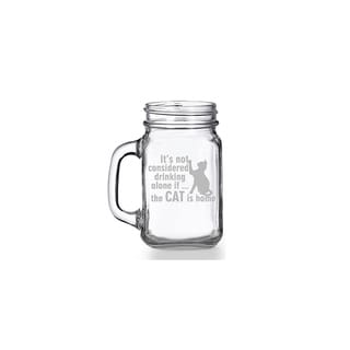 It's Not Drinking Alone If The Cat Is Home Mason Jar Mug (Set of 4)