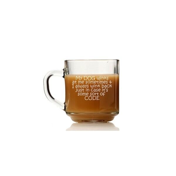 My Dog Winks I Always Wink Back Code Glass Coffee Mug (Set of 4)