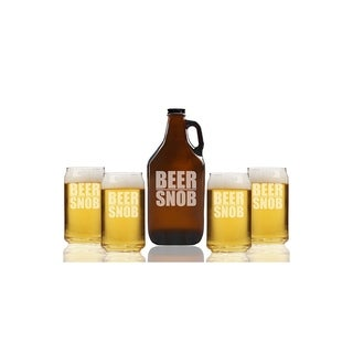 Beer Snob Beer Amber Growler and Can Glasses (Set of 5)