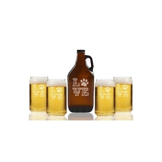 Love Paw Beer Amber Growler and Can Glasses (Set of 5)