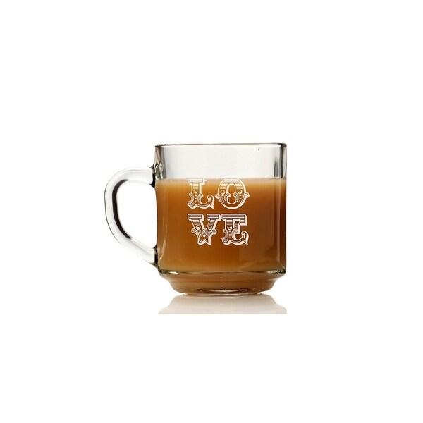 Love Ornate Glass Coffee Mug (Set of 4)