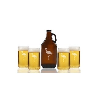 Flamingo Beer Amber Growler and Can Glasses (Set of 5)