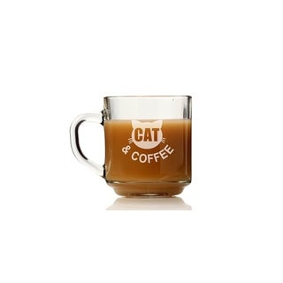 Cat and Coffee Glass Coffee Mug (Set of 4)