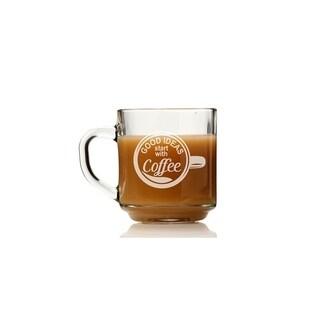 Good Ideas Start With Coffee Glass Coffee Mug (Set of 4)