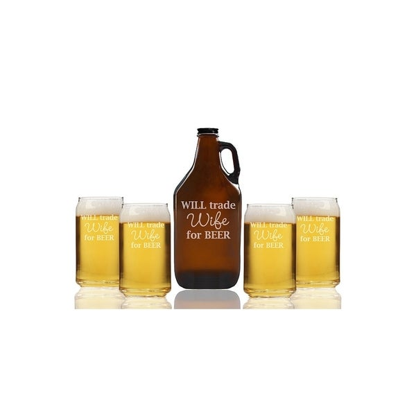 Will Trade Wife For Beer Beer Amber Growler and Can Glasses (Set of 5)