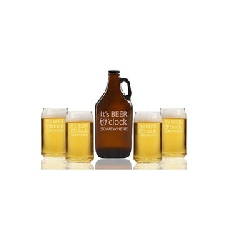 It's Beer O'Clock Somewhere Beer Amber Growler and Can Glasses (Set of 5)