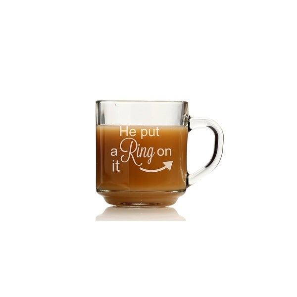 shop he put a ring on it glass coffee mug set of 4 free shipping