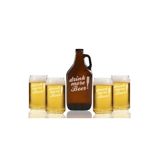 Drink More Beer Beer Amber Growler and Can Glasses (Set of 5)