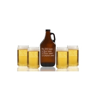 To Do List Drink Beer Beer Amber Growler and Can Glasses (Set of 5)