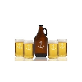 Anchor Beer Amber Growler and Can Glasses (Set of 5)