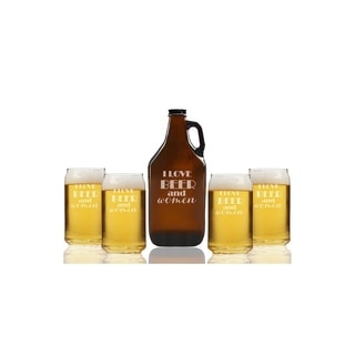 I Love Beer and Women Beer Amber Growler and Can Glasses (Set of 5)