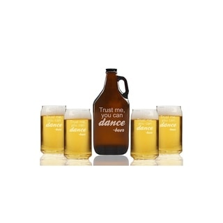 Trust Me You Can Dance Beer Beer Amber Growler and Can Glasses (Set of 5)