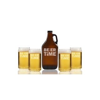 Beer Time Beer Amber Growler and Can Glasses (Set of 5)