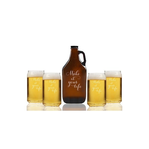 Make It Your Life Beer Amber Growler and Can Glasses (Set of 5)
