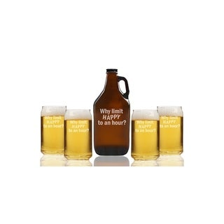 Why Limit Happy To An Hour Beer Amber Growler and Can Glasses (Set of 5)