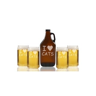 I Love Cats Beer Amber Growler and Can Glasses (Set of 5)