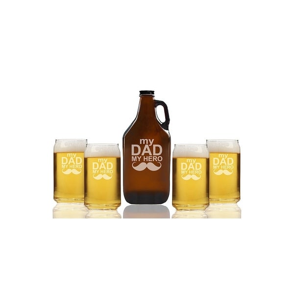 My Dad My Hero Beer Amber Growler and Can Glasses (Set of 5)