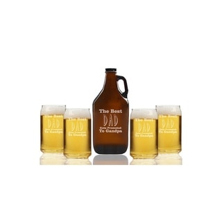 The Best Dad Gets Promoted To Grandpa Beer Amber Growler and Can Glasses (Set of 5)