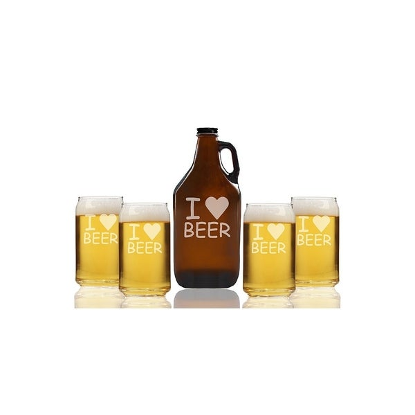 I Love Beer Beer Amber Growler and Can Glasses (Set of 5)