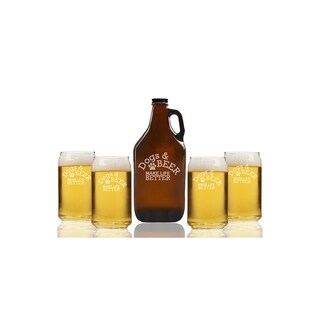 Dogs And Beer Make Life Better Beer Amber Growler and Can Glasses (Set of 5)