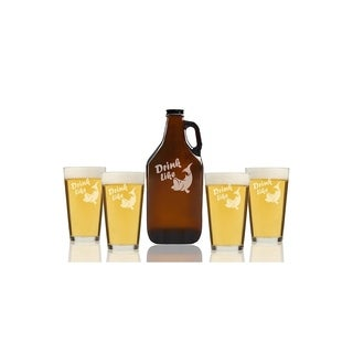 Drink Like a Fish Beer Amber Growler and Pint Glasses (Set of 5)