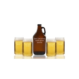 Bad Decisions Make Good Stories Beer Amber Growler and Can Glasses (Set of 5)