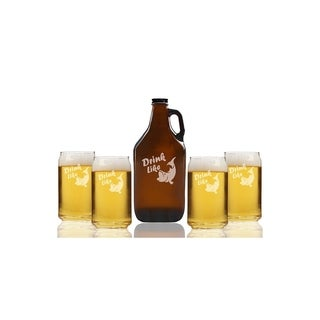 Drink Like a Fish Beer Amber Growler and Can Glasses (Set of 5)