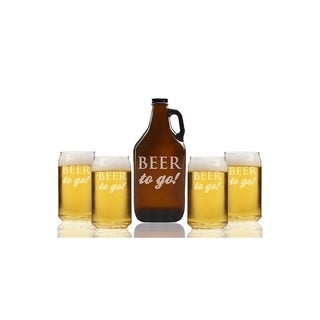 Beer To Go Beer Amber Growler and Can Glasses (Set of 5)