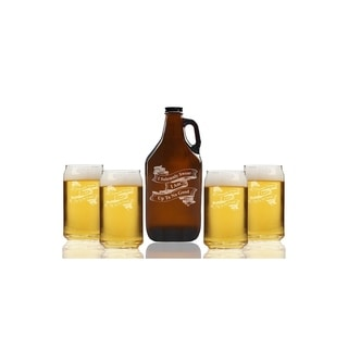 I Solemly Swear I am Up To No Good Ribbon Banner Beer Amber Growler and Can Glasses (Set of 5)