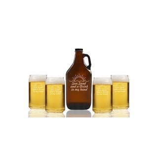 Sun Sand And A Drink In My Hand Beer Amber Growler and Can Glasses (Set of 5)