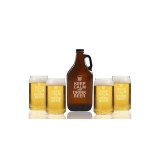 Keep Calm and Drink Beer Beer Amber Growler and Can Glasses (Set of 5)