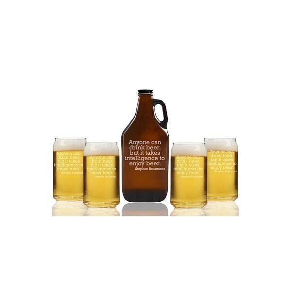 Anyone Can Drink Beer But It Takes Intelligence To Enjoy Beer Beer Amber Growler and Can Glasses (Set of 5)