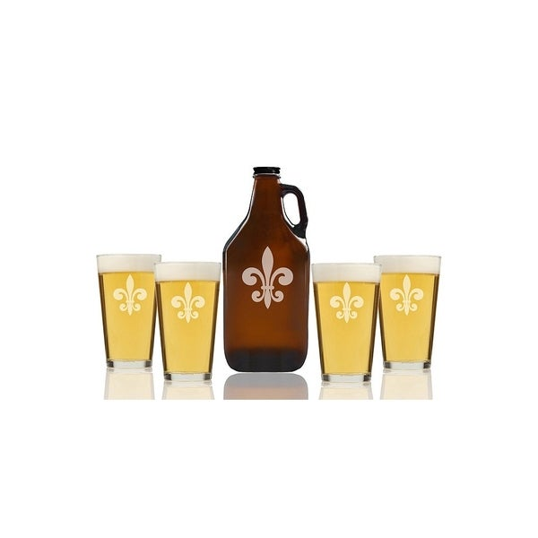 Fleur De Lis Glass Beer Amber Growler and Pint Glasses (Set of 5)