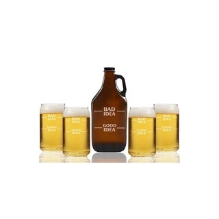 Bad Idea Good Idea Beer Amber Growler and Can Glasses (Set of 5)