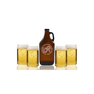 All Fun and Games Until Beer Runs Out Beer Amber Growler and Can Glasses (Set of 5)