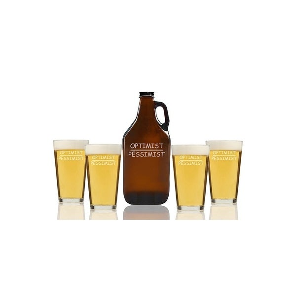 Optimist Pessimist Beer Amber Growler and Pint Glasses (Set of 5)