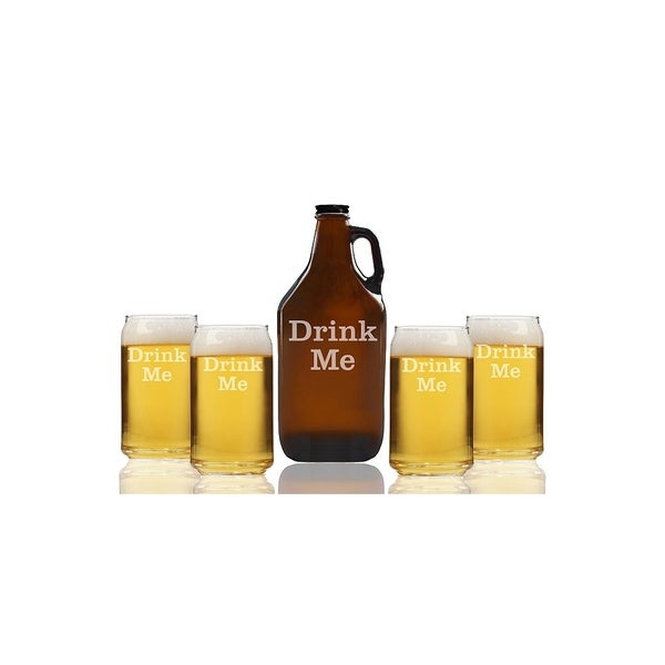 Drink Me Beer Amber Growler and Can Glasses (Set of 5)