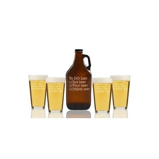 To Do List Drink Beer Beer Amber Growler and Pint Glasses (Set of 5)