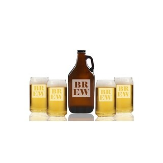 Classic Brew Beer Amber Growler and Can Glasses (Set of 5)