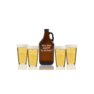 Why Limit Happy To An Hour Beer Amber Growler and Pint Glasses (Set of 5)