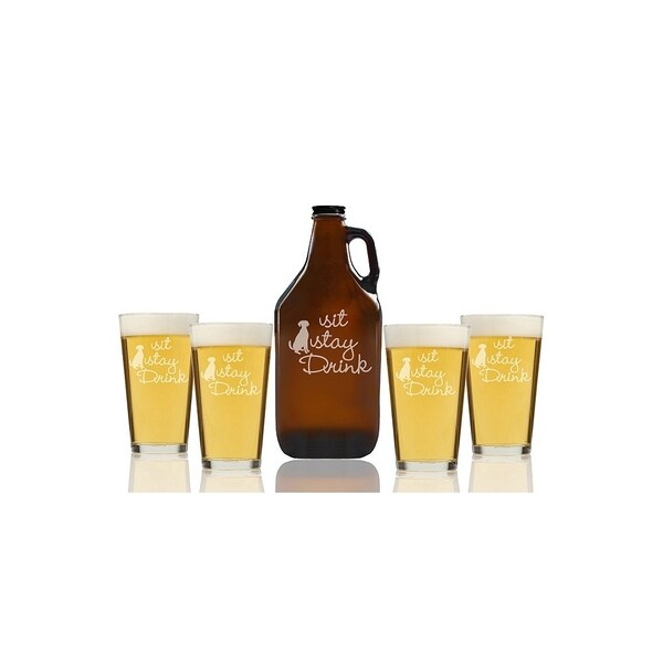 Sit Stay Drink Beer Amber Growler and Pint Glasses (Set of 5)
